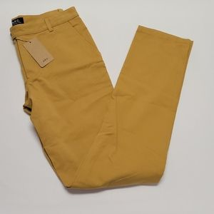 A.P.C. Mustard Flat Front Cotton Blend Slacks